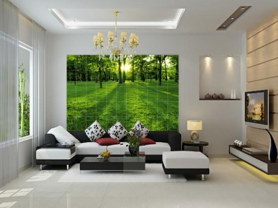 Phòng khách có bức tranh thiên nhiên làm điểm nhấn