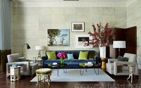 Phòng khách đẹp với sắc xanh lá cây