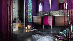 Trang trí phòng tắm cực cá tính và quyến rũ với sắc tím hiện đại