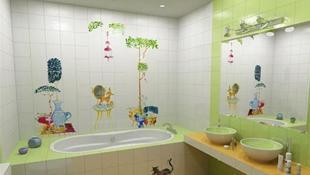 Phòng tắm dễ thương, đầy màu sắc cho trẻ