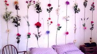 Phòng ngủ cực ấm áp với họa tiết hoa sinh động