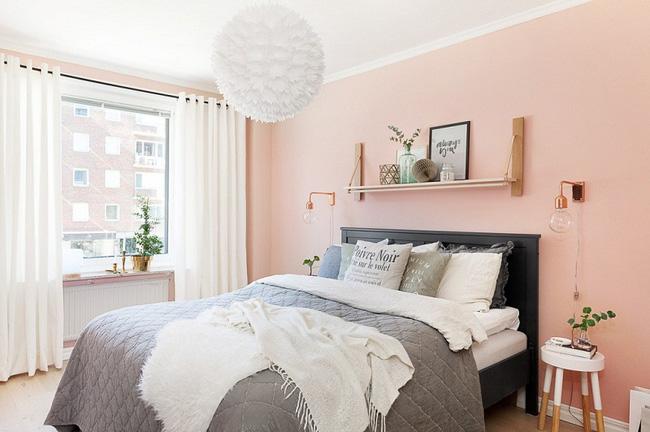 Phòng ngủ ngọt ngào với màu hồng đào