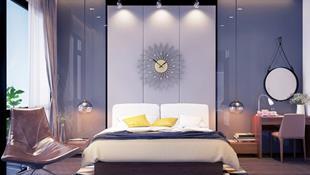Phòng ngủ màu xám nhưng không hề u ám và nhàm chán